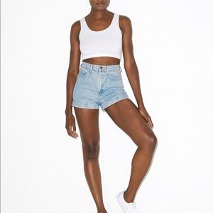 American Apparel Denim HighWaist Cuff Short size25